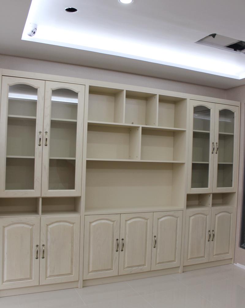 【欧式实木清玻平开门书柜图】造型和结构很赞