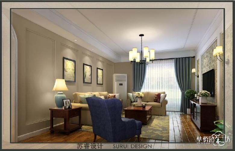 客厅沙发背景墙用石膏线条做了