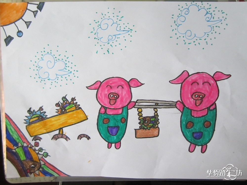 幼儿园小朋友画苹果树