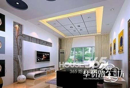 室内屋顶装修效果图方格形状的客厅空间吊顶