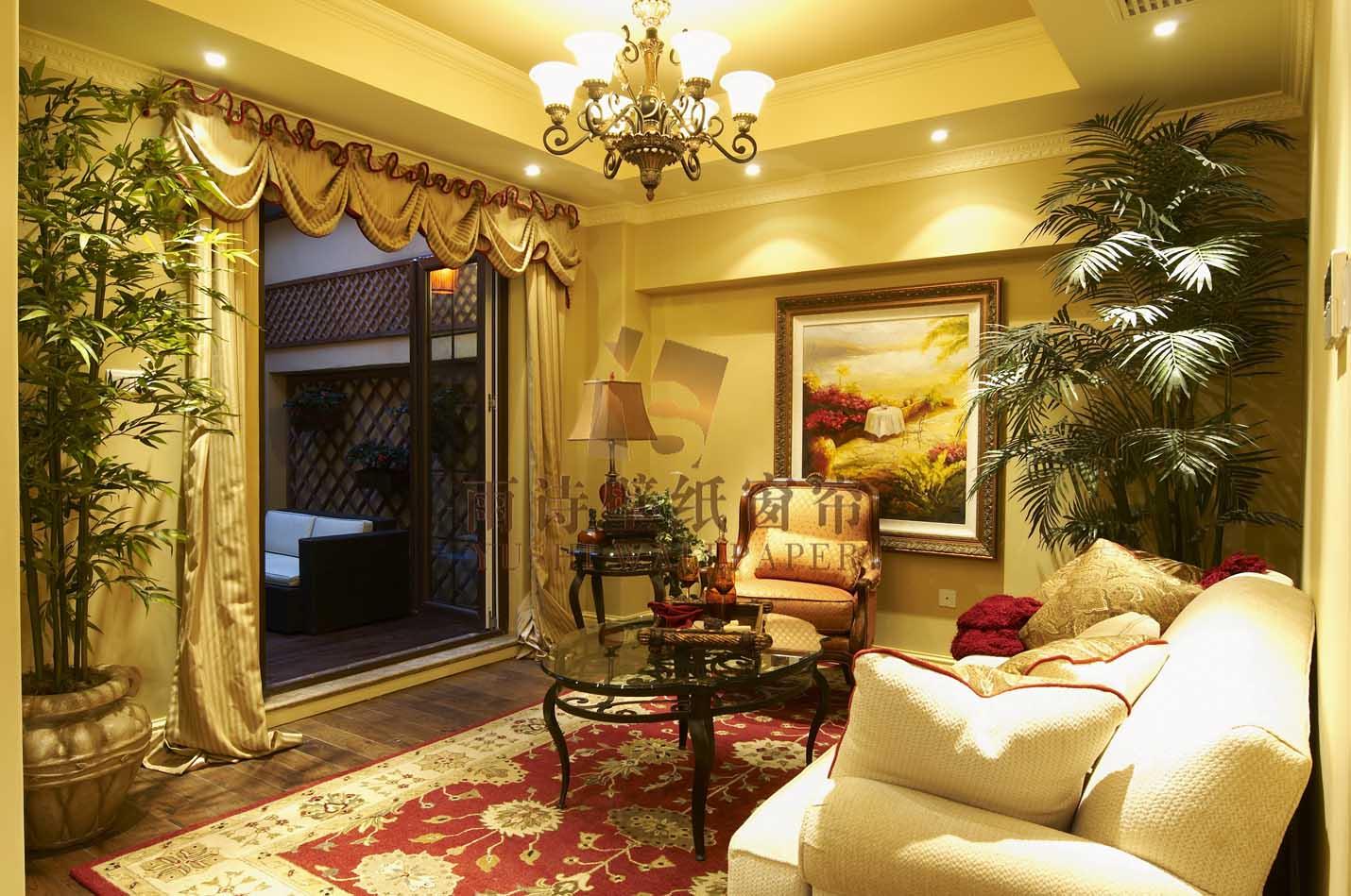 雨诗壁纸窗帘之简约 美式窗帘搭配效果-产品价格