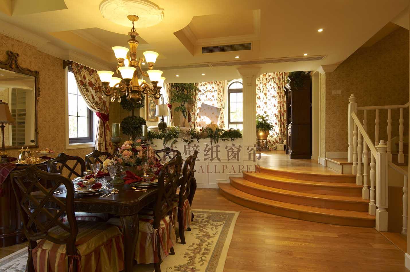 雨诗壁纸窗帘之田园风格餐厅