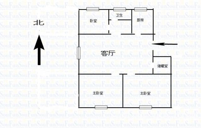 经五路壹城小区 三室一厅 110平方 85万 毛坯