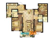 1#C户型02室三室两厅两卫一厨_133.9�O