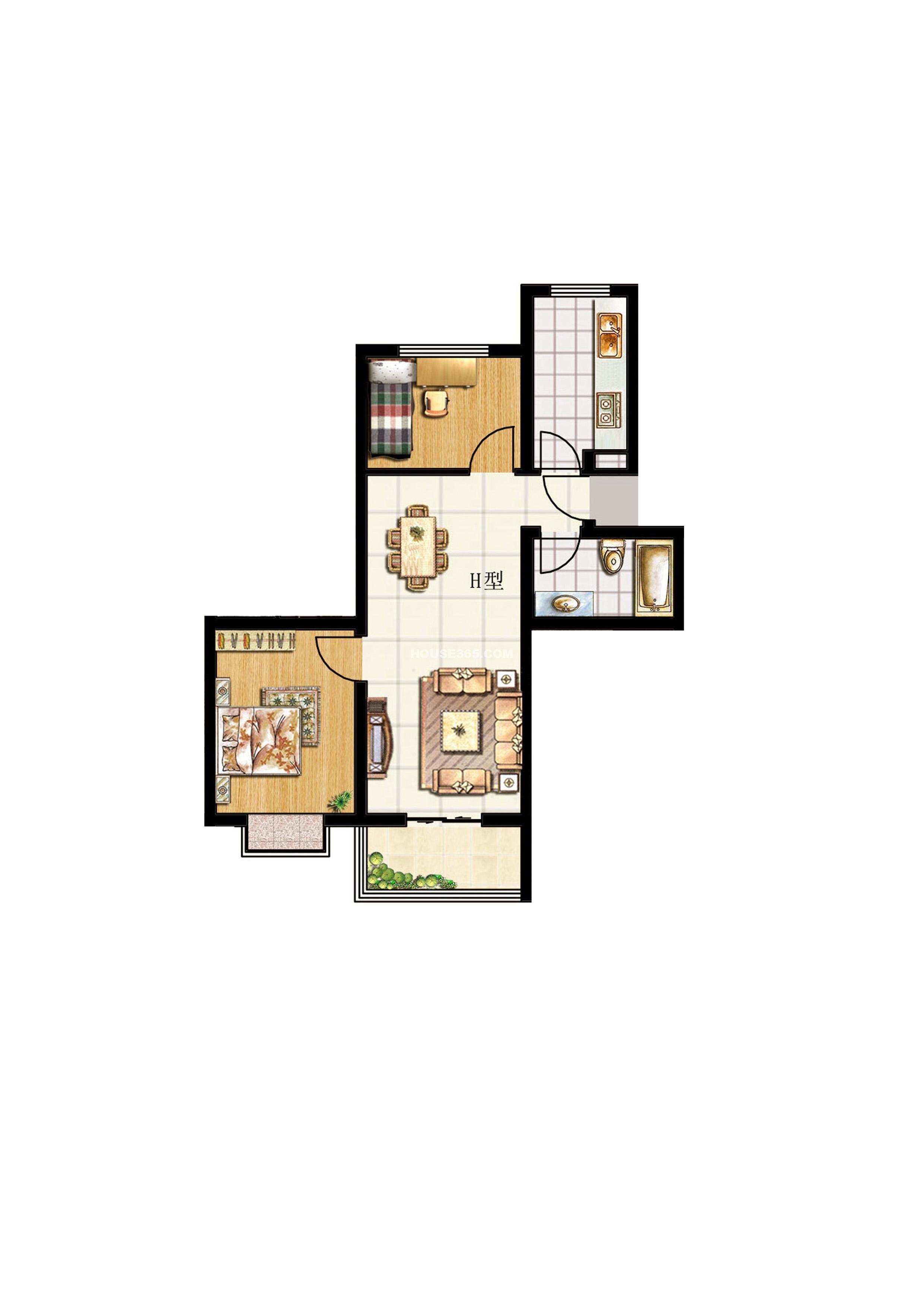 华德水岸花城 华德水岸花城效h户型图两室两厅一厨一卫 高清图片