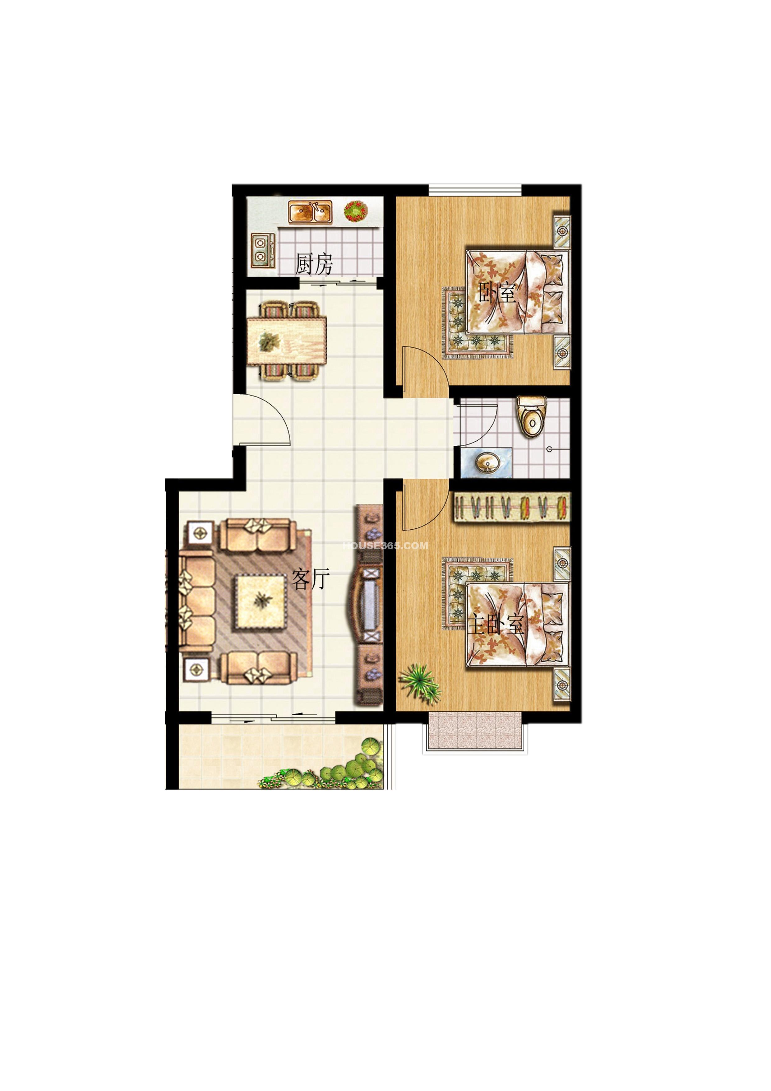 华德水岸花城华德水岸花城效户型图两室两厅一厨一卫 高清图片
