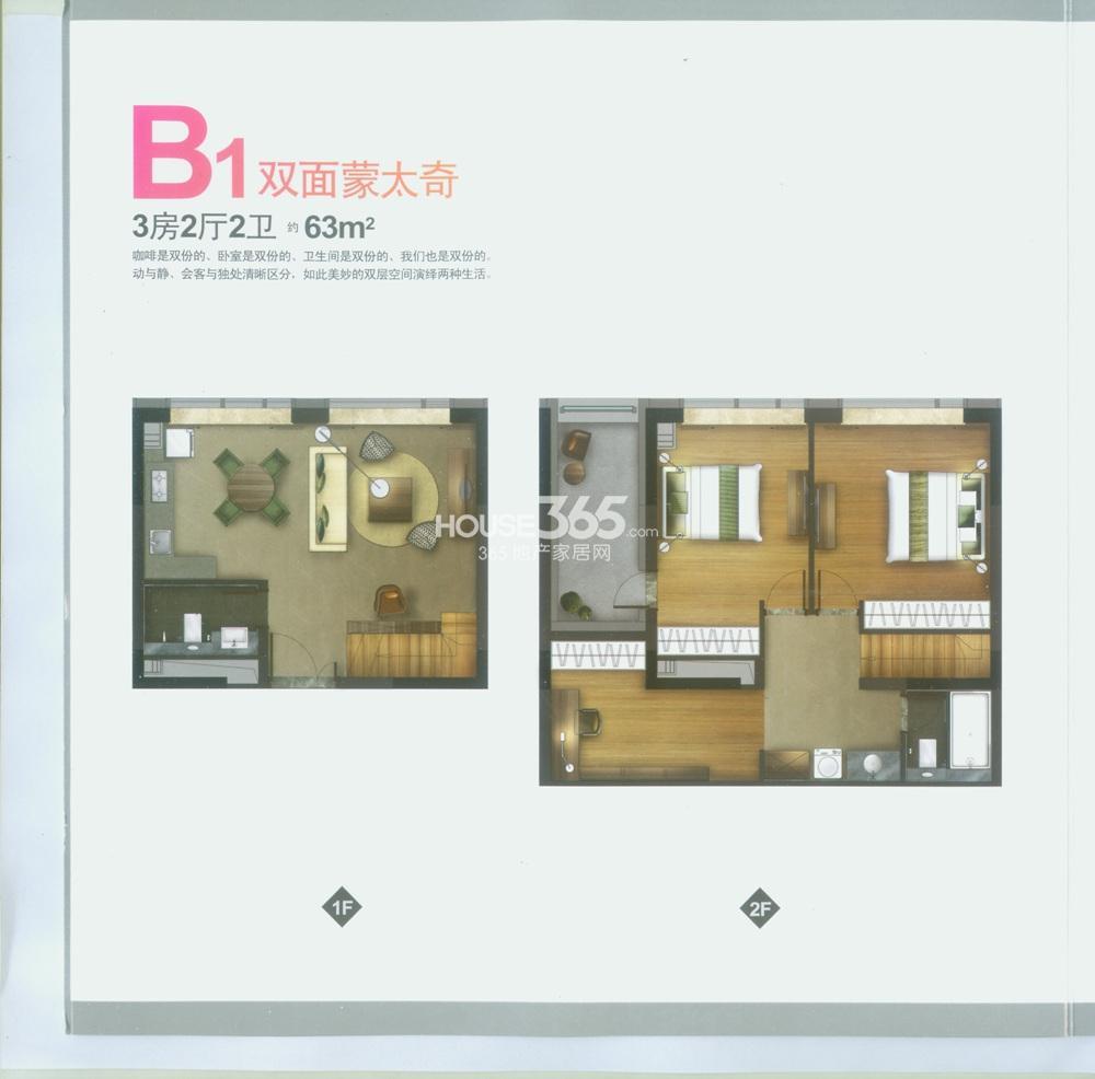 B1户型 63平方米