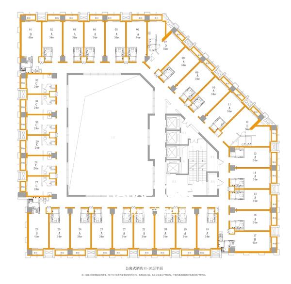 万科中心商务公寓楼层平面图