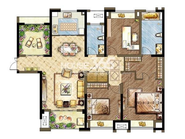 三期5#6#楼户型-3室2厅2卫 135平
