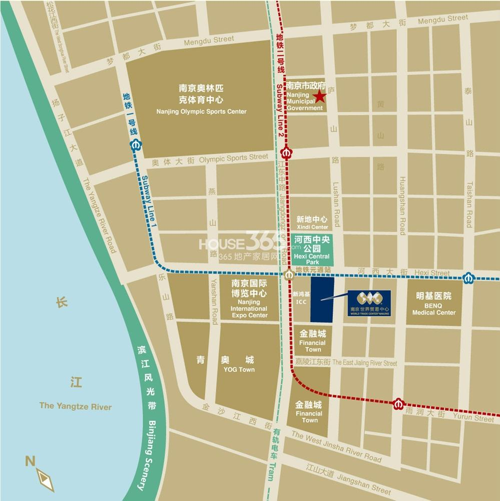 南京世界贸易中心 南京世界贸易中心交通图