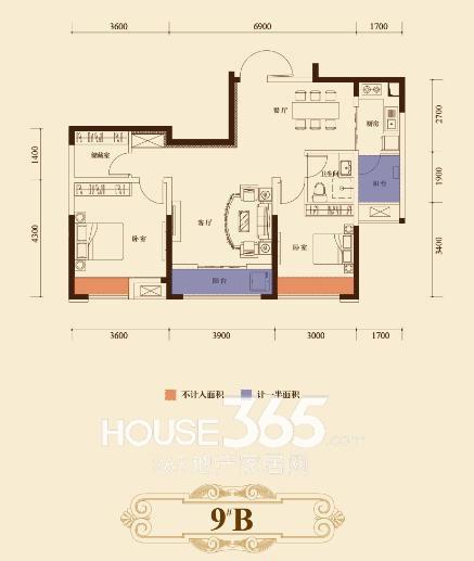瑞泰心里城9#楼B户型 两室一厅96.26㎡