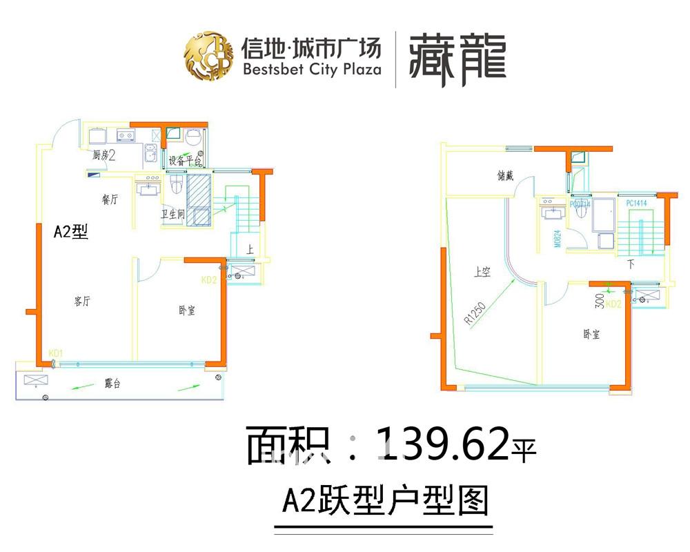信地城市广场藏龙复式139.62平户型
