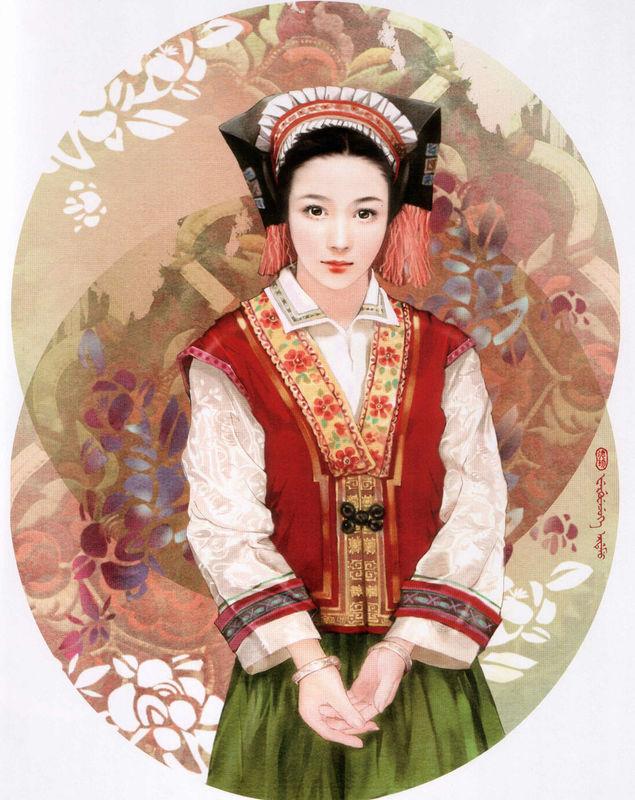 中国56个民族服装唯美手绘美女