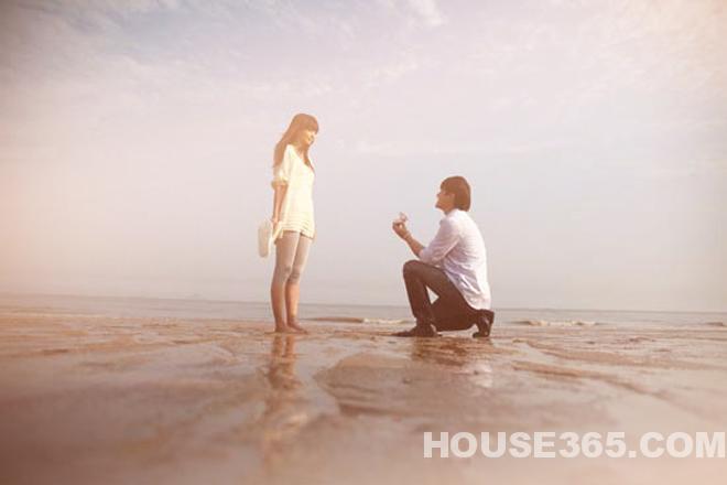 海滩求婚铅笔画