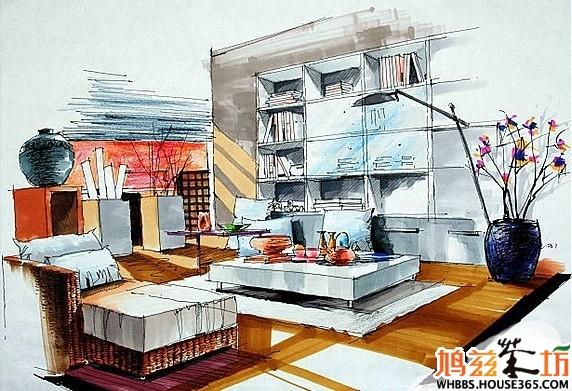书房设计手绘效果图(七)