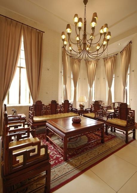 中式别墅客厅效果图,古典气息芬芳四溢 大气装修风格养人眼