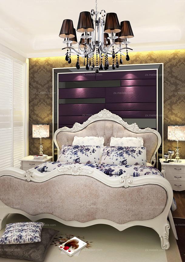 欧式卧室壁纸装修效果图:现代风格与欧式田园风格在卧室内